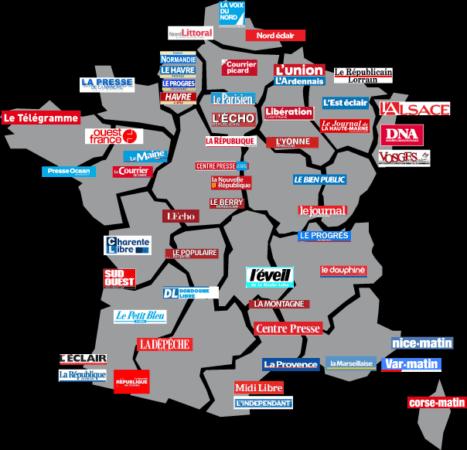 La presse en France, ici sans certains titres de la presse en ligne.