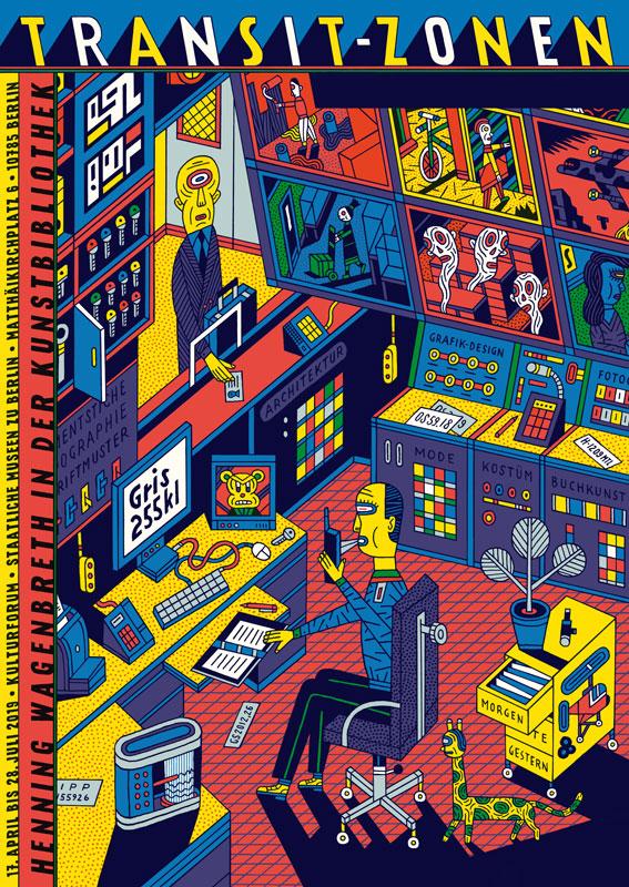 פוסטר צבעוני של המאייר Henning Wagenbreth