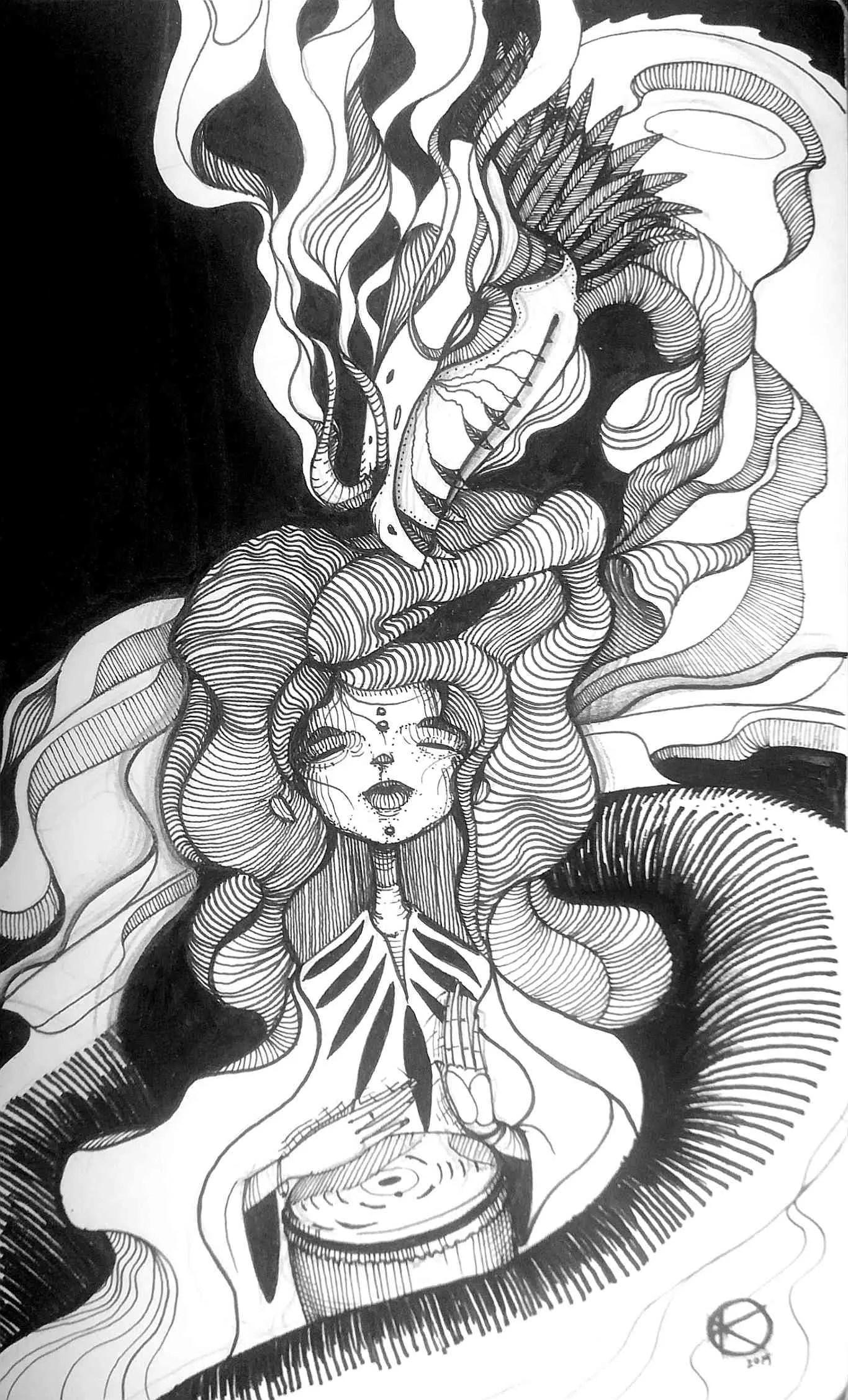Inktober Día 12: Dragon. Ilustración: Kmilo Nieto / Magazine AM:PM.