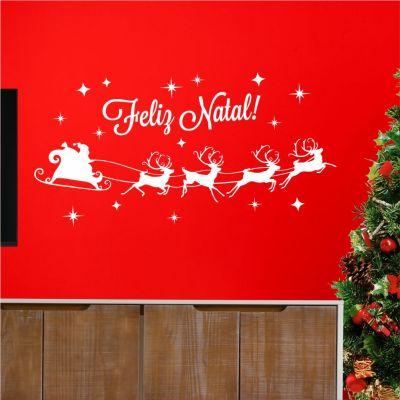 Adesivo de Parede Feliz Natal Trenó