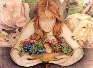 De Vegetariër, kleurpotlood, 90x70cm