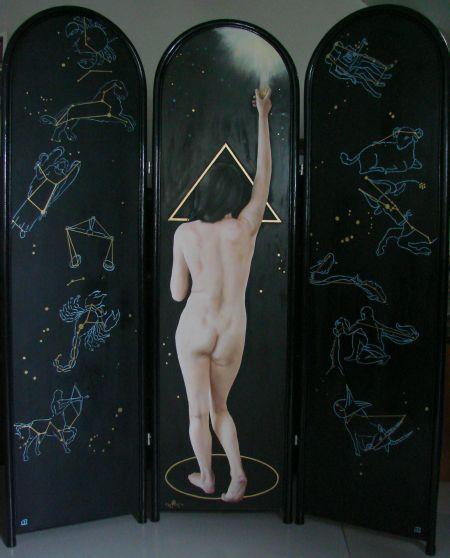 Axis Mundi, kamerscherm achterzijde, olieverf op paneel 51x177cm