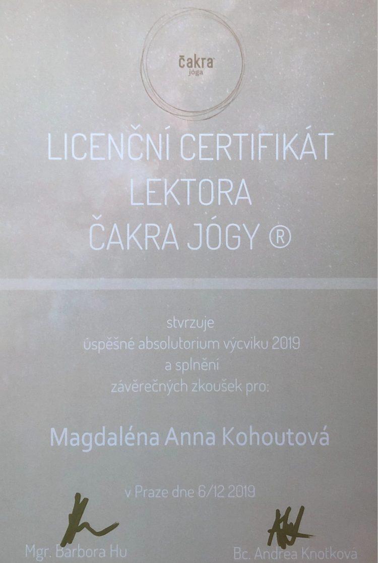 Licenční certifikát lektorka čakra jógy