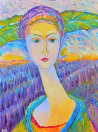 Lawendowa Pani, dziwny portret olejny kobiety z lawendą w tle.