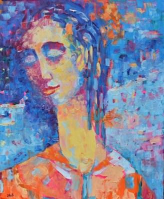 kobieta olej na płótnie obraz Magdaleny Walulik_Malarstwo_polskie_format 5- x 65 cm