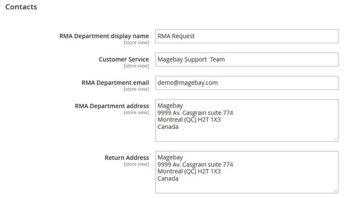 RMA Contacts