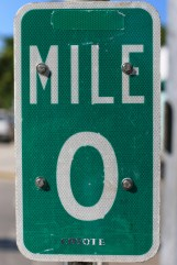 Mile marker zero. I'm guessing they replace this sign every few days or so.
