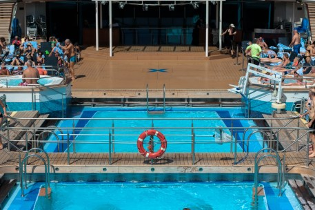 The ship has one outdoor pool...one indoor pool. And about eight hot tubs.