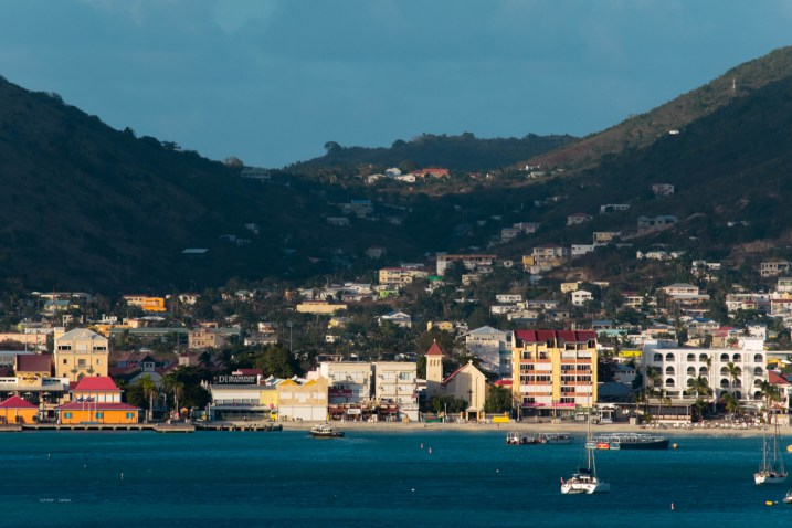 The sun setting on St. Maarten.