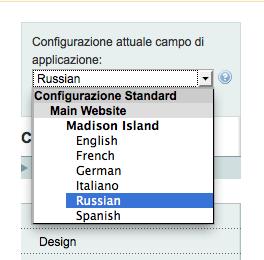 configurazione lingua alla vista negozio
