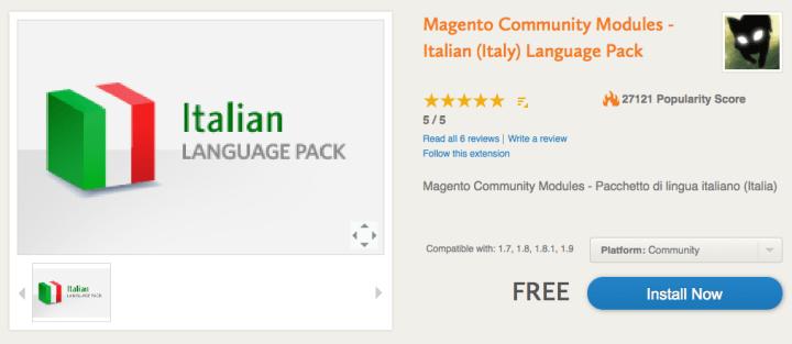 estensione lingua italiana magento