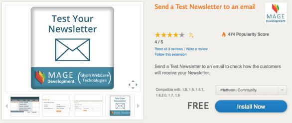 newsletter in magento test