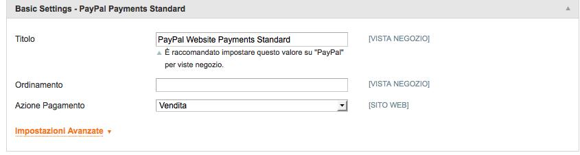 impostazioni base magento paypal