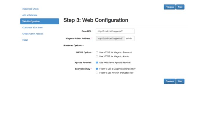 magento 2 Configurazione web