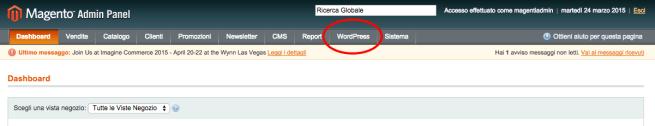 menù dopo installazione di wordpress