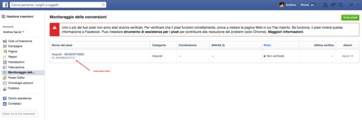 Codice di Monitoraggio Conversioni Magento Facebook