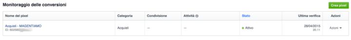 Codice Pixe Facebook Magento