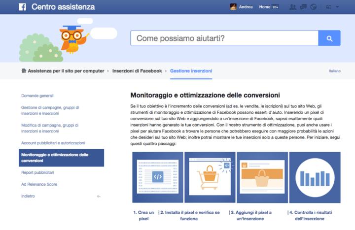 Monitoraggio e ottimizzazione delle conversioni Centro assistenza di Facebook