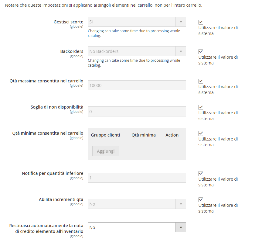 opzioni inventario prodotto