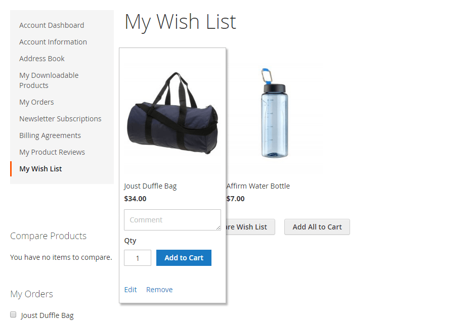 How to Configure the Wish List Wish List on store view