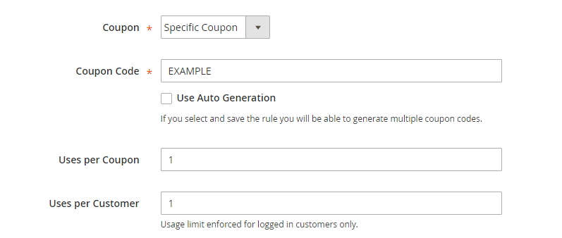 How to Create a Cart Price Rule Cart Coupon Code Settings