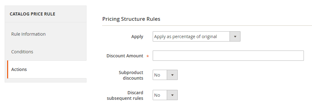 How to Create a Catalog Price Rule Actions