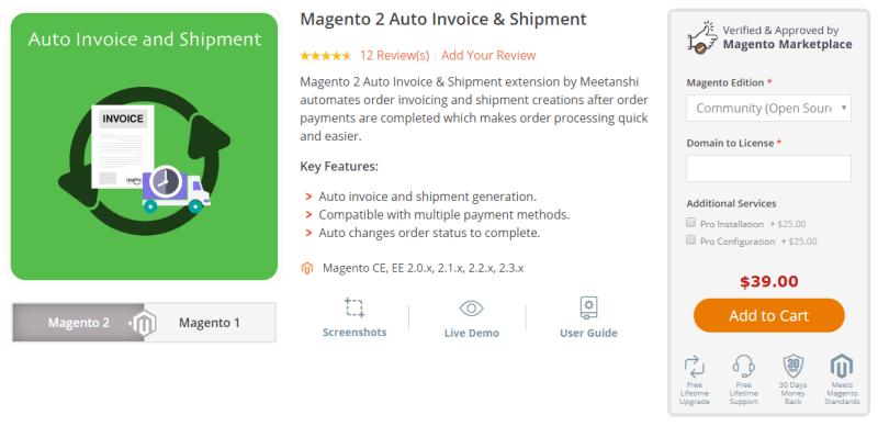 Magento 2 Auto Invoice & Shipment by Meetanshi