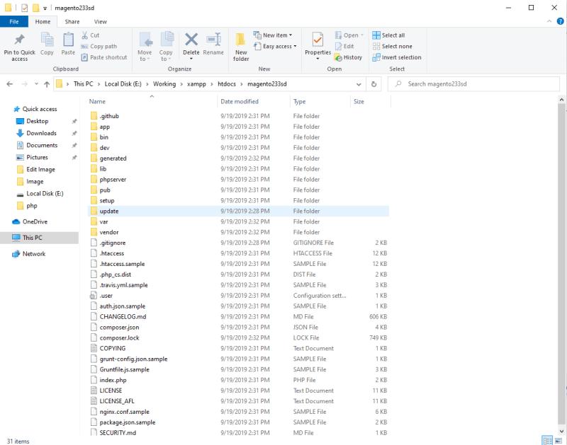 Unzip Magento 2.3.3 to folder