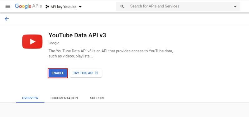 kích hoạt api youtube