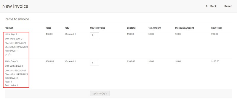 Booking information in invoice