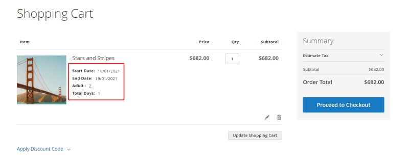 Booking information in the cart