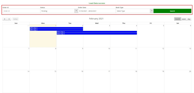 Filtering and booking schedule