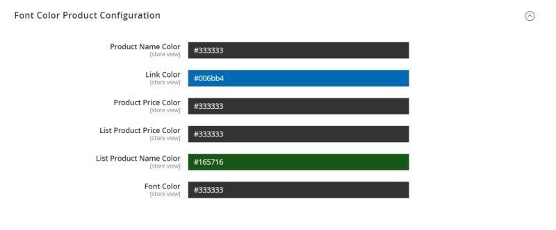 Font Color Product Configuration