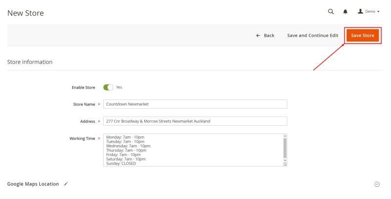 When complete, click Save Store button (Add New Store)