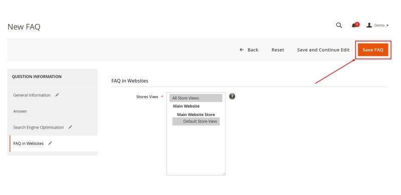 Click Save FAQ button