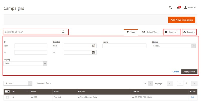 Search, filter, export data, select columns of campaigns (Manage Campaigns)