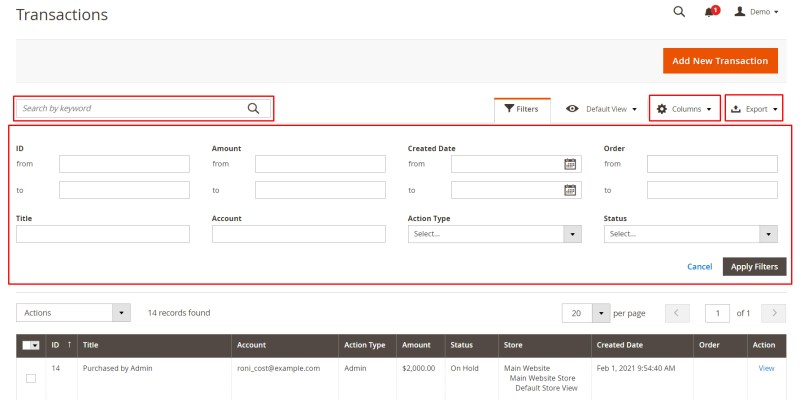 Search, filter, export data, select columns of transactions (Manage Transactions)