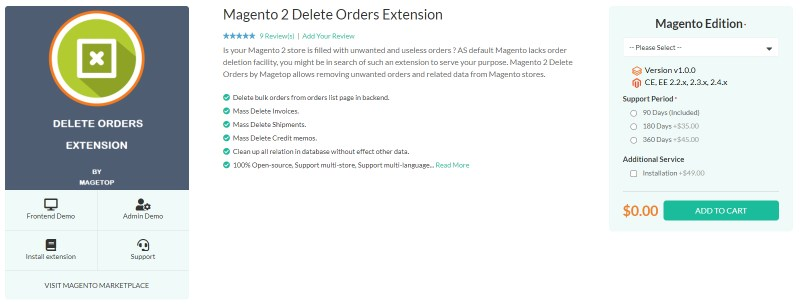 Magetop Delete Orders Extension