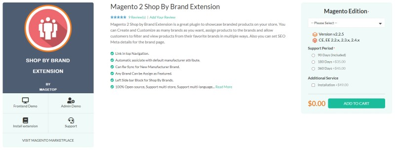 Magetop Shop By Brand Extension