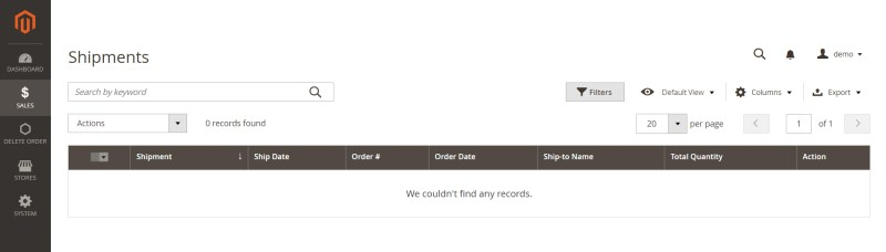 Shipment after delete order