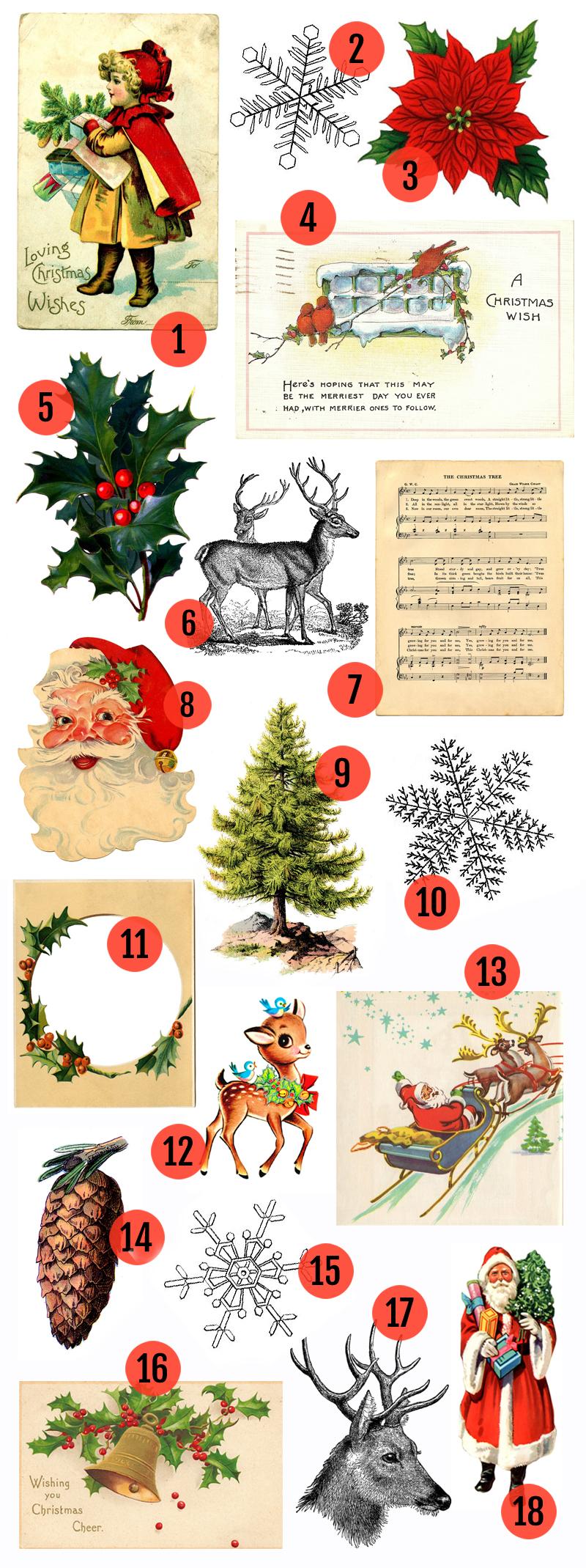 hight resolution of free christmas printable vintage christmas clip art