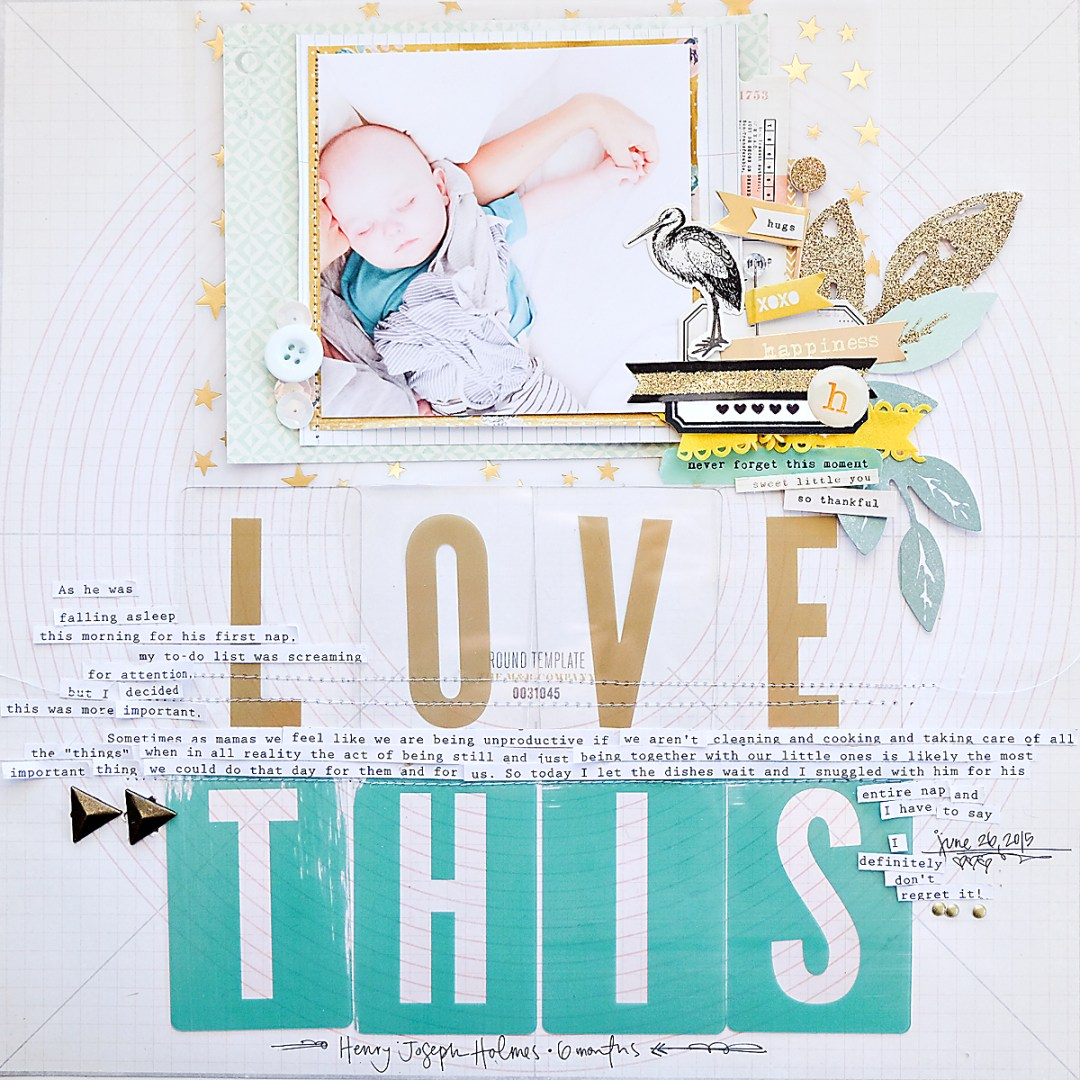 Love This Scrapbook Page using Maggie Holmes Confetti-1