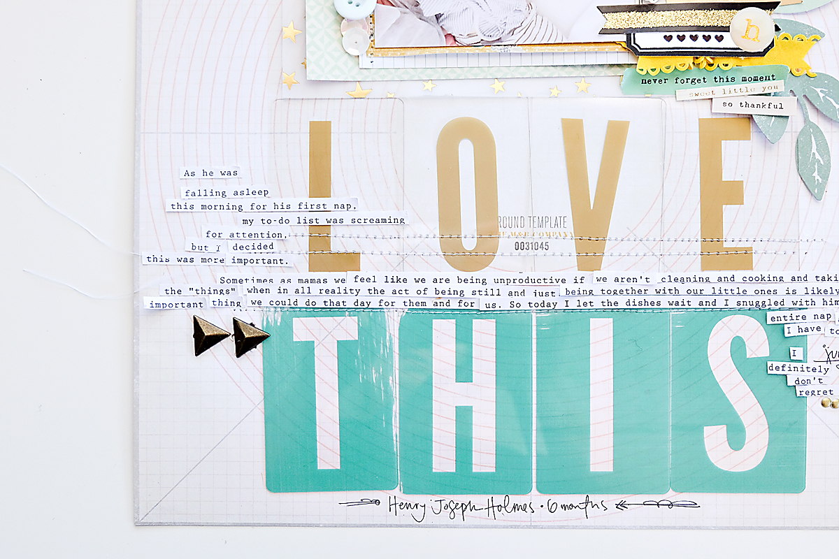 Love This Scrapbook Page using Maggie Holmes Confetti-4