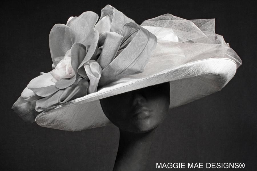 Liza Der13-124 silver dupioni silk hat