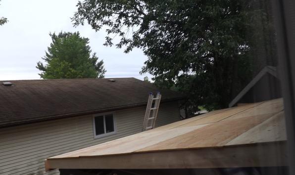 Garage roof sheathing complete