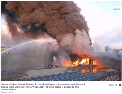 {I-75 and Nine Mile overpass explosion}