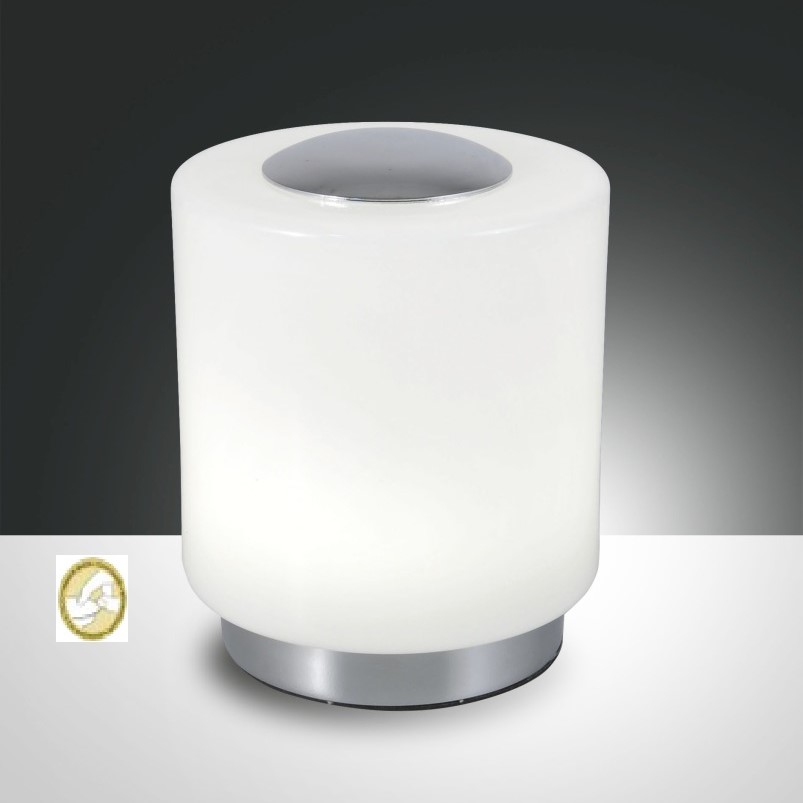 Fabas Luce Lampada Da Tavolo Simi Vetro Lucido E Metallo Cromato Led Integrato 8W