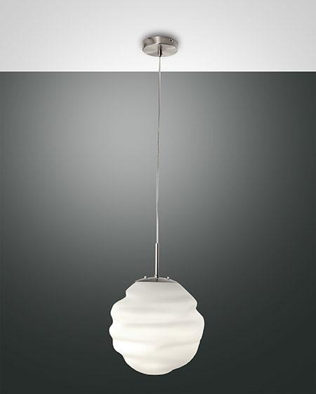 Fabas Luce Sospensione Moderna AVA  Ø 30 Cm In Vetro Soffiato Bianco