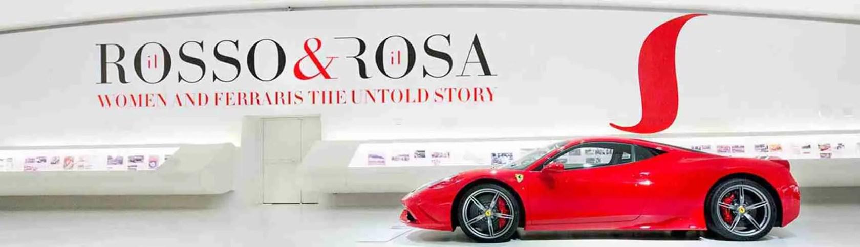 Museo Ferrari Modena. La mostra Il Rosso & il Rosa è dedicata alle donne al volante della Ferrari. Un sogno per le escort Modena. Magica Escort