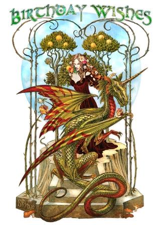 Garden Of The Fire Drake Birthday Card By Briar BGC GOTF